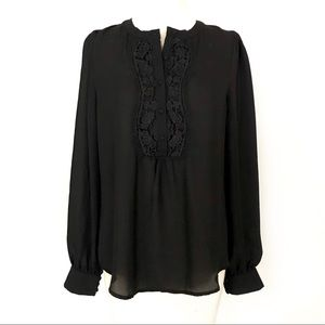 Esley Boho Victorian Black Blouse With Lace